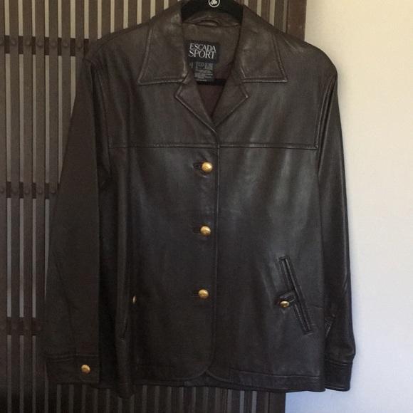 ESCADA SPORT Jackets & Blazers - ESCADA SPORT dark brown leather jacket